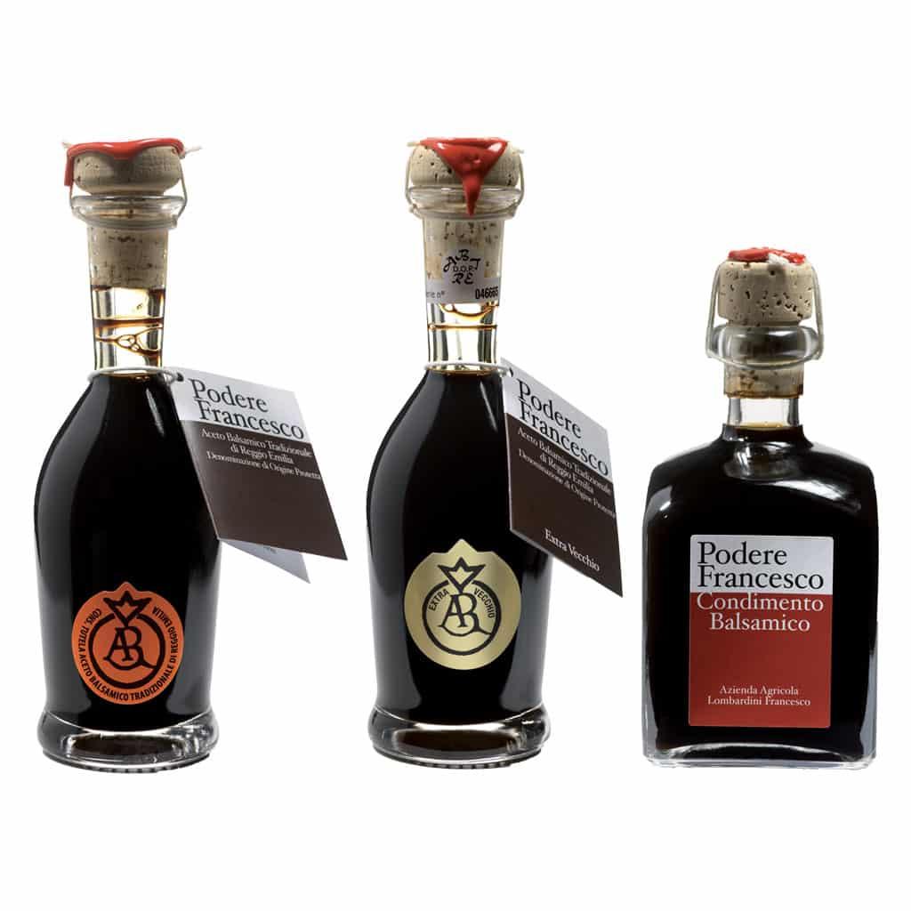 Aceto balsamico prodotto a podere francesco a Novellara, provincia di Reggio Emilia